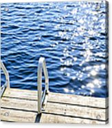 Dock On Summer Lake With Sparkling Water Acrylic Print