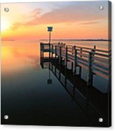 Dock On The Sunset Sound Acrylic Print
