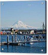Dock View Of Mt. Rainier Acrylic Print