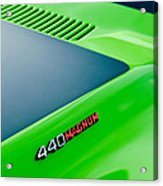 Dodge Challenger 440 Magnum Rt Hood Emblem Acrylic Print