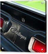 Dodge Challenger 440 Magnum Rt Taillight Emblem Acrylic Print by Jill Reger