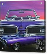 Dodge Rt Double Exposure Purple Sunset Acrylic Print
