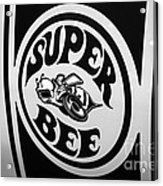 Dodge Super Bee Decal Black And White Picture Acrylic Print