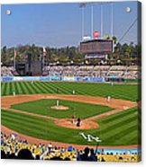 Dodger Stadium Panorama Acrylic Print by Eddie Yerkish