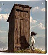 Dog Guarding An Outhouse Acrylic Print by Daniel Eskridge