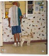 Dog Owner Dog Vet's Office Casa Grande Arizona 2004 Acrylic Print by David Lee Guss