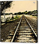 Dog Walk Along The Wayzata Train Tracks Acrylic Print