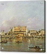 Doges Palace And View Of St. Marks Basin, Venice Oil On Canvas Acrylic Print