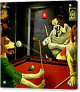 Dogs Playing Pool Wall Art Unknown Painter Acrylic Print