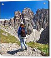 Dolomiti - Hiker In Sella Mount Acrylic Print