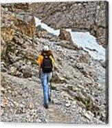 Dolomiti - Hiker In Val Setus Acrylic Print