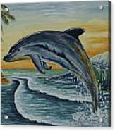 Dolphin Jumping Acrylic Print