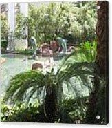 Dolphin Pond And Garden Green Acrylic Print