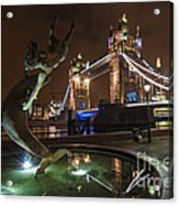 Dolphin Statue Tower Bridge Acrylic Print by Donald Davis