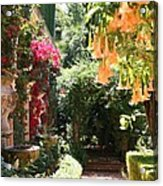 Dolphinfountain And Flowers - France Acrylic Print