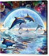 Dolphins By Moonlight Acrylic Print by Adrian Chesterman
