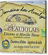 Domaine Des Averlys Acrylic Print by Allen Sheffield