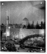 Dome Of The Rock -- Black And White Acrylic Print