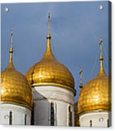 Domes Of The Dormition Cathedral Of Moscow Kremlin - Square Acrylic Print