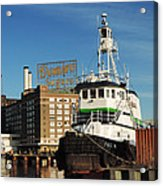 Domino Sugars Baltimore With A Boat Acrylic Print