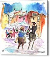 Don Quijote And Sancho Panza Entering Toledo Acrylic Print