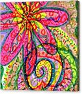 Doodle Flowers Acrylic Print