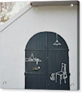Door With Drawings Acrylic Print