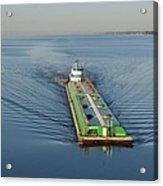 Double Barge On Calm Santa Rosa Sound From Navarre Bridge At Sunrise Acrylic Print