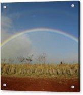 Double Rainbow Over A Field In Maui Acrylic Print