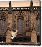 Dove Flying By Church Acrylic Print