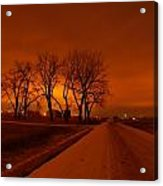 Down The Haunting Road Under The Orange Sky Acrylic Print