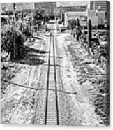 Down The Tracks - Downtown Miami - Black And White Acrylic Print by Ian Monk