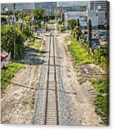 Down The Tracks - Downtown Miami Acrylic Print by Ian Monk