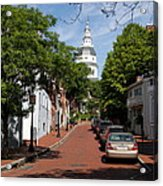 Downtown Annapolis With Maryland State House Cupola Acrylic Print
