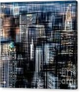 Downtown At Night Acrylic Print by Hannes Cmarits