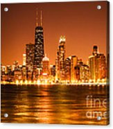 Downtown Chicago At Night With Chicago Skyline Acrylic Print by Paul Velgos