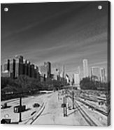 Downtown Chicago Train Tracks Black And White Acrylic Print