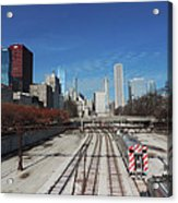 Downtown Chicago With Train Tracks Acrylic Print