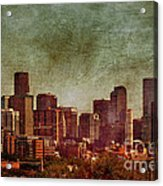 Downtown Denver Antiqued Postcard Acrylic Print