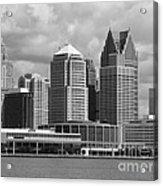 Downtown Detroit Riverfront Bw Acrylic Print