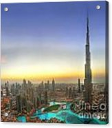 Downtown Dubai At Sunset Acrylic Print by Lars Ruecker