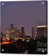 Downtown Houston Before Fireworks Acrylic Print