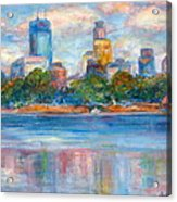 Downtown Minneapolis Skyline From Lake Calhoun II - Or Commission Your City Painting Acrylic Print