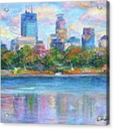 Downtown Minneapolis Skyline From Lake Calhoun Acrylic Print by Quin Sweetman