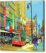 Downtown Montreal Eatons Centre Complex Les Ailes Old Navy Rue Mcgill College City Scenes  C Spandau Acrylic Print