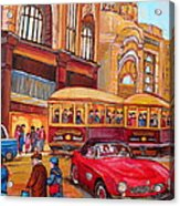 Downtown Montreal-streetcars-couple Near Red Fifties Mustang-montreal Vintage Street Scene Acrylic Print