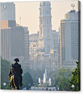 Downtown Philadelphia - Benjamin Franklin Parkway Acrylic Print by Bill Cannon