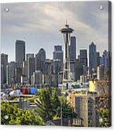 Downtown Seattle Skyline With Mount Rainier Acrylic Print