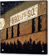 Downtown Seattle With Silhouetted Runners On Brick Wall Early Mo Acrylic Print