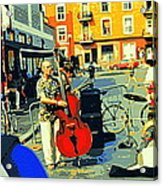 Downtown Street Musicians Perform At The Coffee Shop With Cool Tones On A Hot Summer Day Acrylic Print